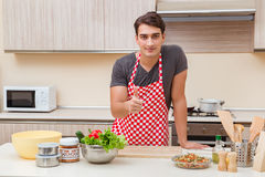 The man male cook preparing food in kitchen Royalty Free Stock Photos