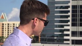 Man, Male, Downtown, Urban. Stock video of a man in an urban area stock video