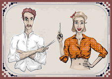 Man male hairdresser barber coiffeur haircutter, female woman gi Stock Photos