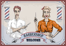 Man male hairdresser barber coiffeur haircutter, female woman gi Royalty Free Stock Photos