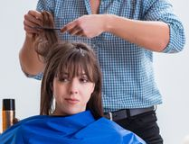 Man male hairdresser doing haircut for woman royalty free stock images