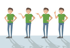 Man male person funny cartoon casual in various poses pointing w Stock Photography
