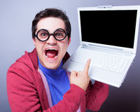 Man man with notebook Royalty Free Stock Photo