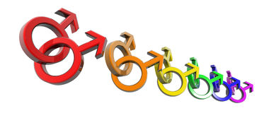 Man-man symbols rainbow Royalty Free Stock Photo