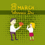 Man Manager gives flowers woman on Woman's Day 8 march. Flat   illustration Royalty Free Stock Images
