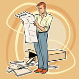 Man manual assembling furniture. The toy designer. Furniture Assembly royalty free illustration