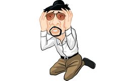 Man action cartoon, line sticker vector. Man in many actions cartoon, line sticker vector Royalty Free Stock Images