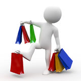 Man with many bags of various colors, shopping Royalty Free Stock Image