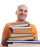 Man with many books Royalty Free Stock Photography