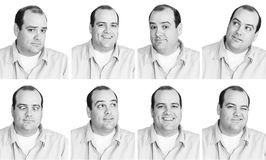 Man with many expressions 2. Black and white digital composition of 8 expressions from a man in his mid-thirties Royalty Free Stock Image