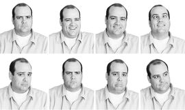 Man with many expressions. Black and white digital composition of 8 expressions from a man in his mid-thirties royalty free stock photography