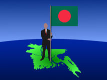 Man on map of bangladesh Royalty Free Stock Image