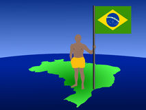 Man on map of Brazil with flag Stock Photo