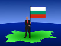 Man on map of Bulgaria Royalty Free Stock Photos