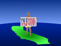 Man on map of California Royalty Free Stock Photo