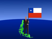 Man on map of Chile with flag Royalty Free Stock Image