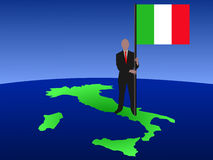 Man on map of Italy with flag Royalty Free Stock Image