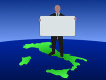 Man on map of italy with sign royalty free illustration