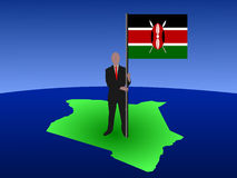 Man on map of Kenya with flag. Business man standing on map of Kenya with flag Royalty Free Stock Photography