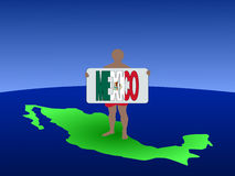 Man On Map Of Mexico Royalty Free Stock Photography
