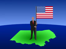 Man on map of Ohio with flag Stock Photo