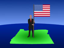 Man on map of Oregon with flag Stock Photos