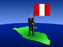 Man on map of Peru with flag Royalty Free Stock Image