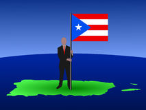 Man on map of Puerto Rico Stock Image