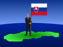 Man on map of Slovakia Royalty Free Stock Photography