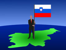 Man on map of Slovenia Royalty Free Stock Photos