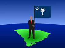 Man on map of South Carolina Royalty Free Stock Photo