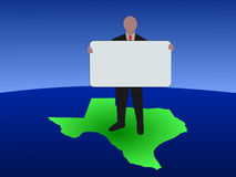 Man on map of Texas with sign Royalty Free Stock Images