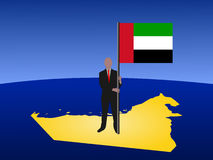 Man on map of UAE with flag Stock Photos