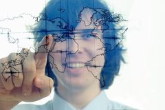 Man with map of the world Stock Images
