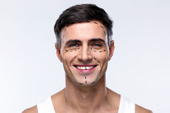 Free Man Marked With Lines For Plastic Surgery Stock Photography - 47766052