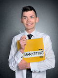 Man marketing folder Stock Photography