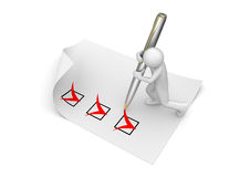 Man marking checkboxes Stock Image