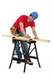 Man marking a measurement Stock Photos