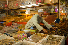 Man in  Marocco   food market Royalty Free Stock Photo