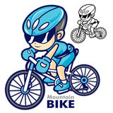 Man Mascot riding a mountain bike. Are going to travel by bicycl Stock Photography