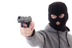 Man in mask aiming with gun isolated on white Royalty Free Stock Photo