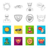Man, mask, cloak, and other web icon in outline,flet style.Costume, superman, superforce, icons in set collection. Royalty Free Stock Photography
