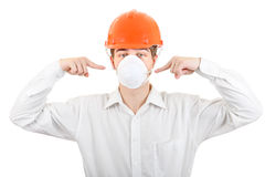Man in the Mask and Hard Hat Royalty Free Stock Images