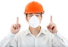 Man in the Mask and Hard Hat Stock Image