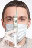 Man in mask holding  money syringe closeup Royalty Free Stock Photo