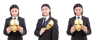 The man with mask isolated on white Stock Images