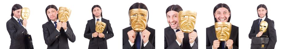 The man with mask isolated on white Royalty Free Stock Photo