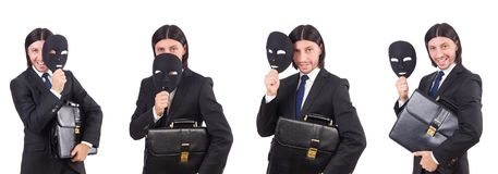 The man with mask isolated on white Royalty Free Stock Image