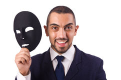 Man with mask. Isolated on white Royalty Free Stock Photo