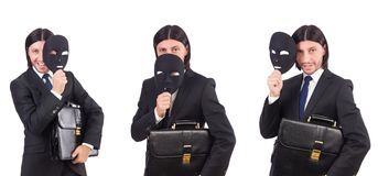 The man with mask isolated on white Stock Photography